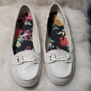 White sequin boat shoe-Lauren iii